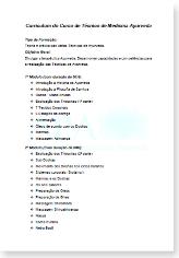 Programa do Curso de Técnico de Medicina Ayurveda
